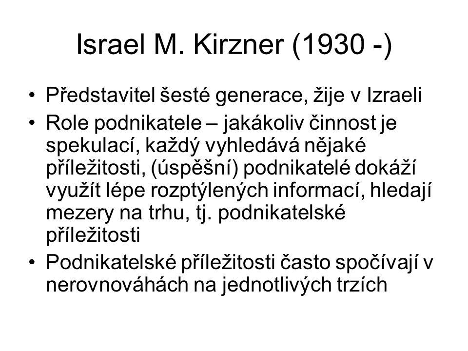 Israel M. Kirzner (1930 -) Představitel šesté generace, žije v Izraeli