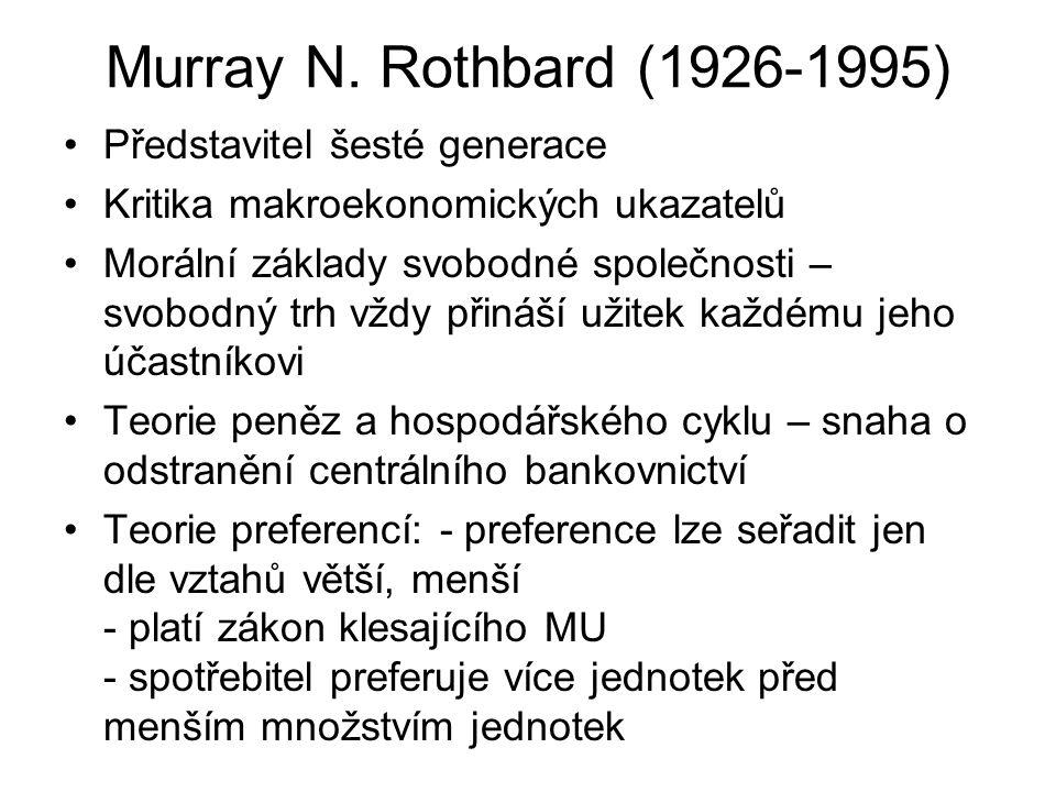 Murray N. Rothbard (1926-1995) Představitel šesté generace