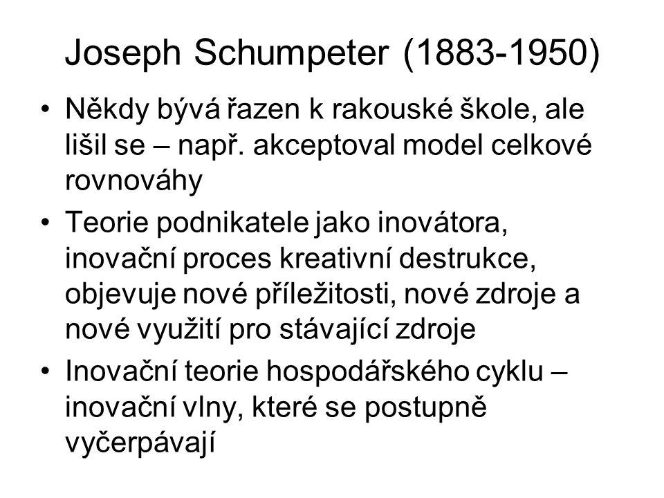 Joseph Schumpeter (1883-1950) Někdy bývá řazen k rakouské škole, ale lišil se – např. akceptoval model celkové rovnováhy.