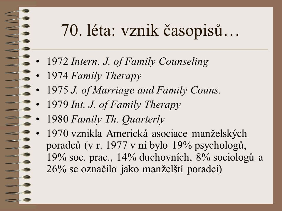 70. léta: vznik časopisů… 1972 Intern. J. of Family Counseling