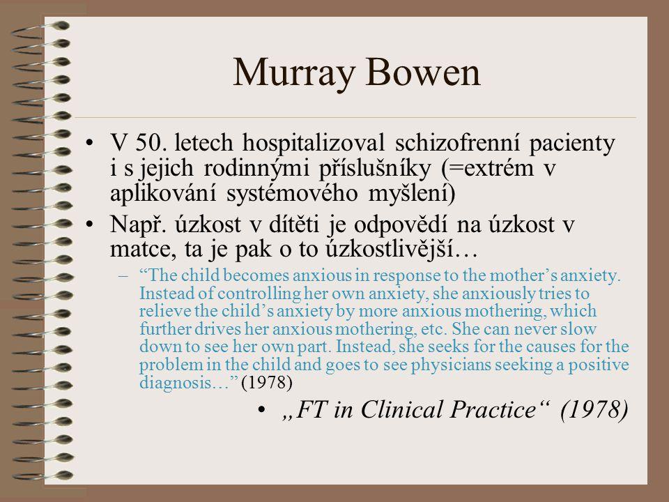 Murray Bowen V 50. letech hospitalizoval schizofrenní pacienty i s jejich rodinnými příslušníky (=extrém v aplikování systémového myšlení)