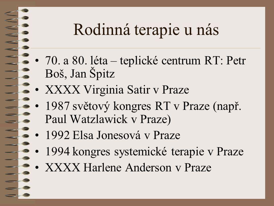 Rodinná terapie u nás 70. a 80. léta – teplické centrum RT: Petr Boš, Jan Špitz. XXXX Virginia Satir v Praze.
