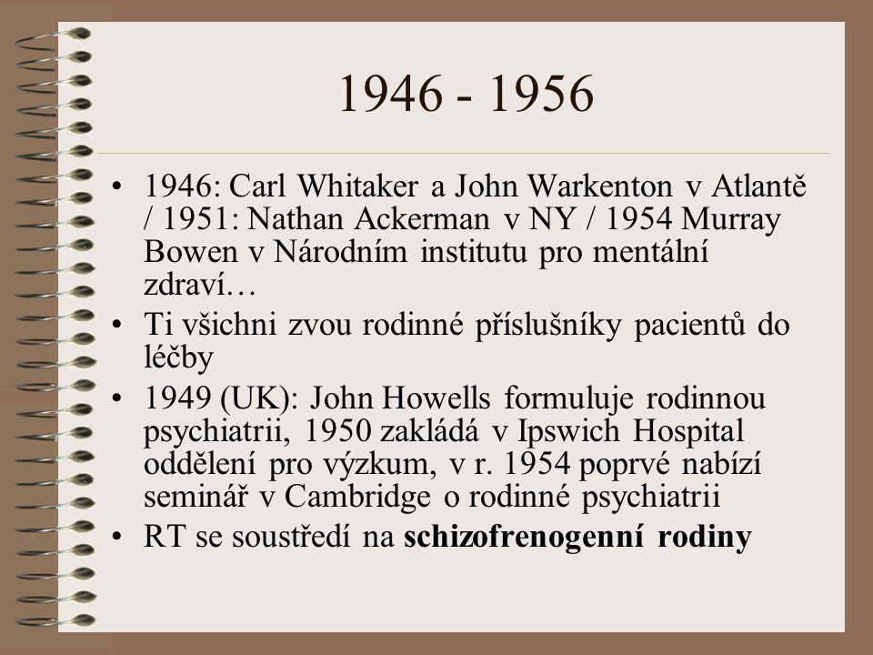 1946 - 1956 1946: Carl Whitaker a John Warkenton v Atlantě / 1951: Nathan Ackerman v NY / 1954 Murray Bowen v Národním institutu pro mentální zdraví…