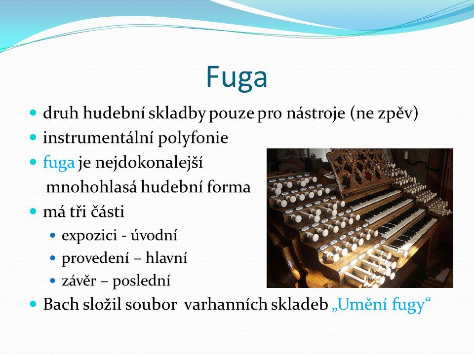 Fuga druh hudební skladby pouze pro nástroje (ne zpěv)