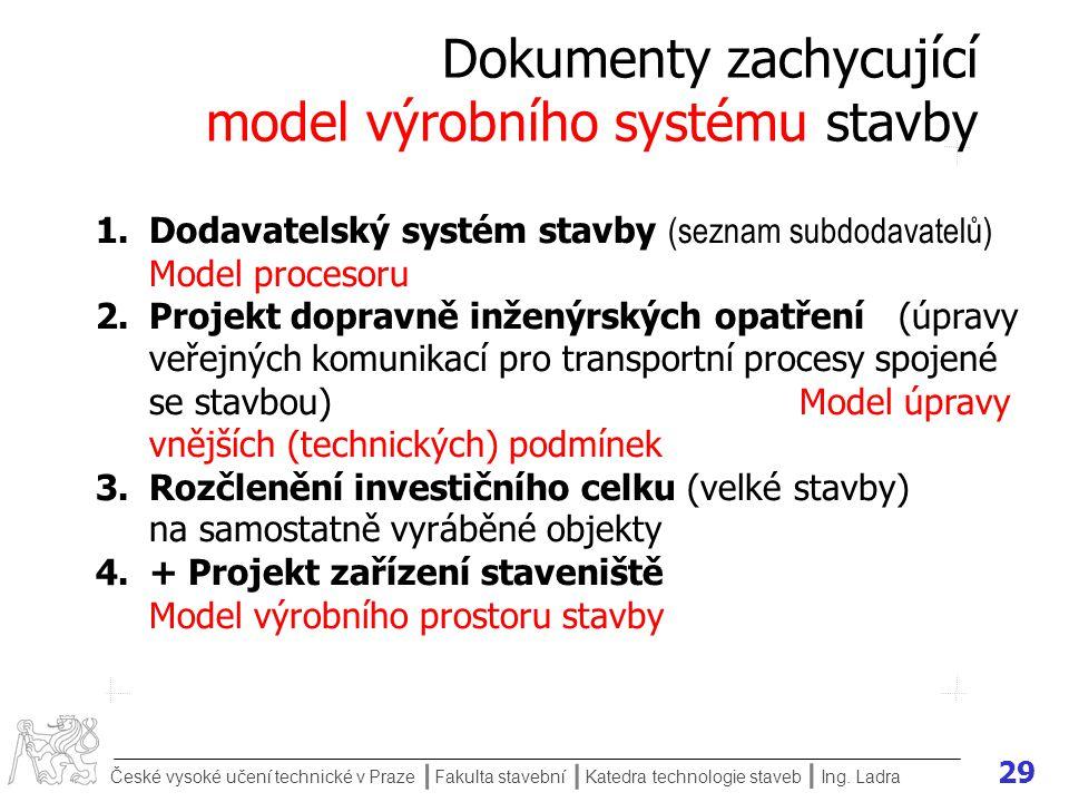 Dokumenty zachycující model výrobního systému stavby