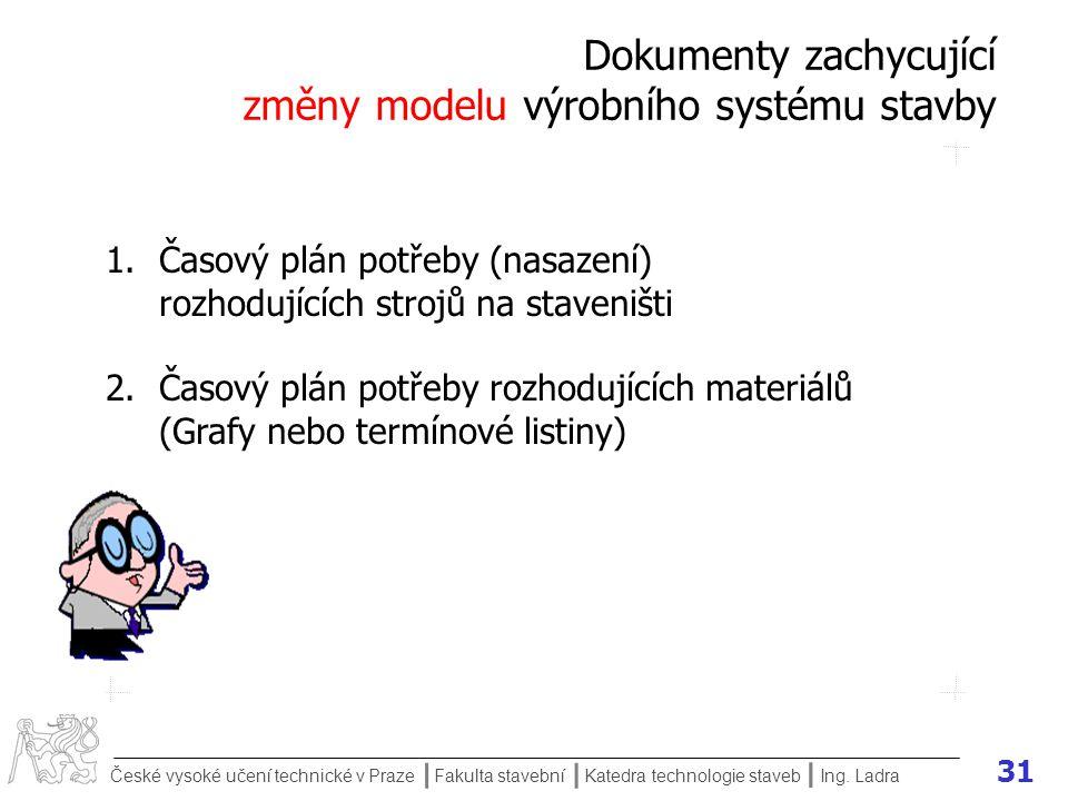 Dokumenty zachycující změny modelu výrobního systému stavby