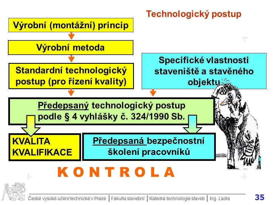 K O N T R O L A Technologický postup Výrobní (montážní) princip