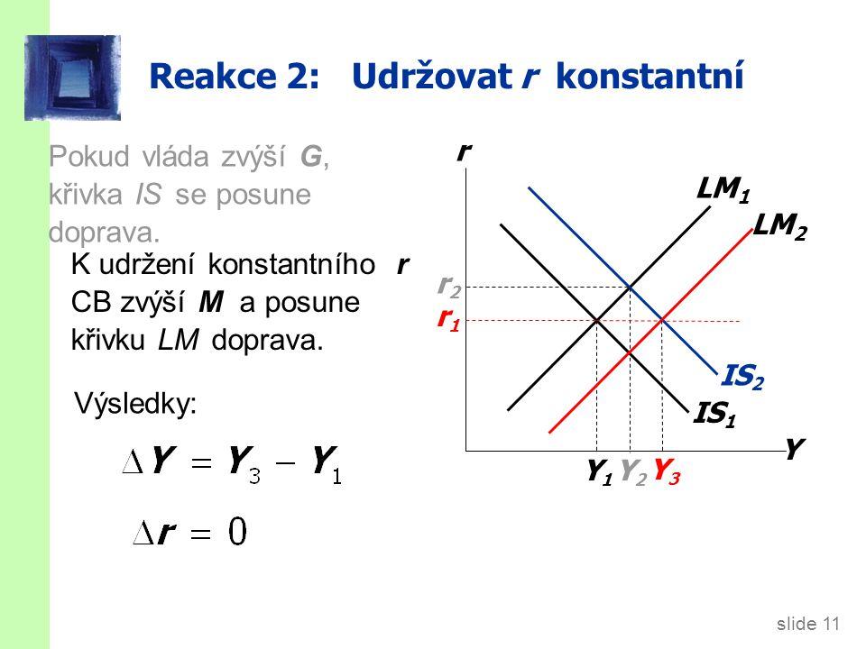 Reakce 3: Udržovat Y konstantní
