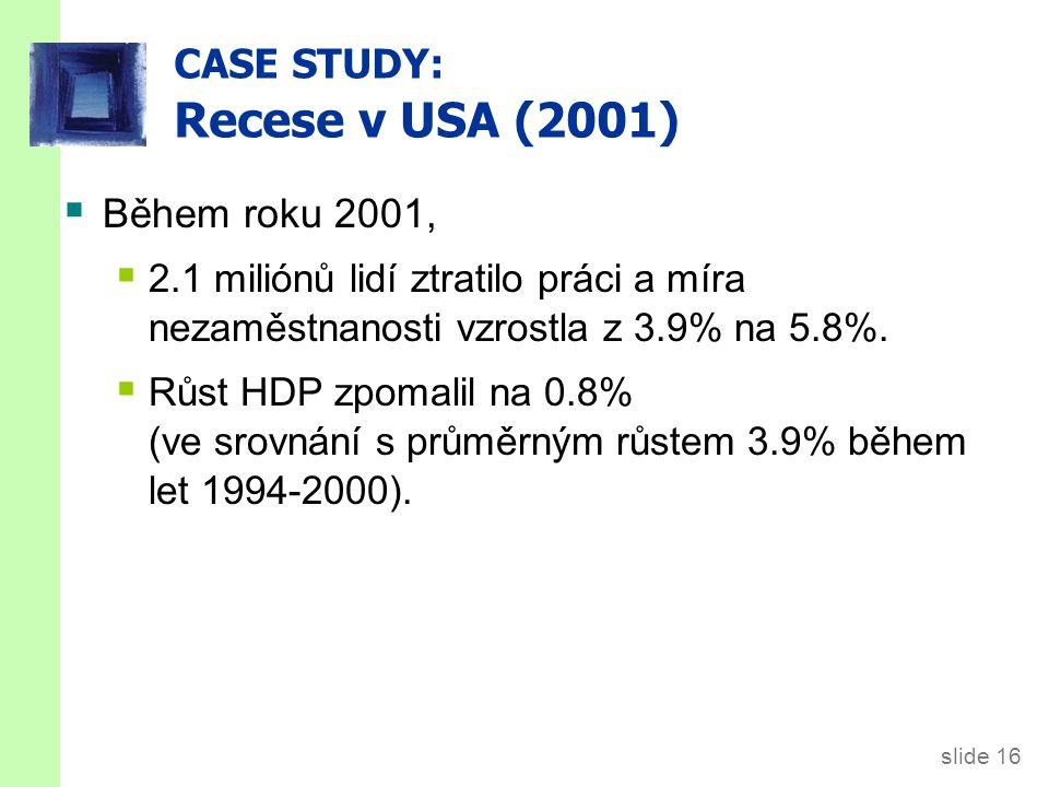 CASE STUDY: USA recese (2001)