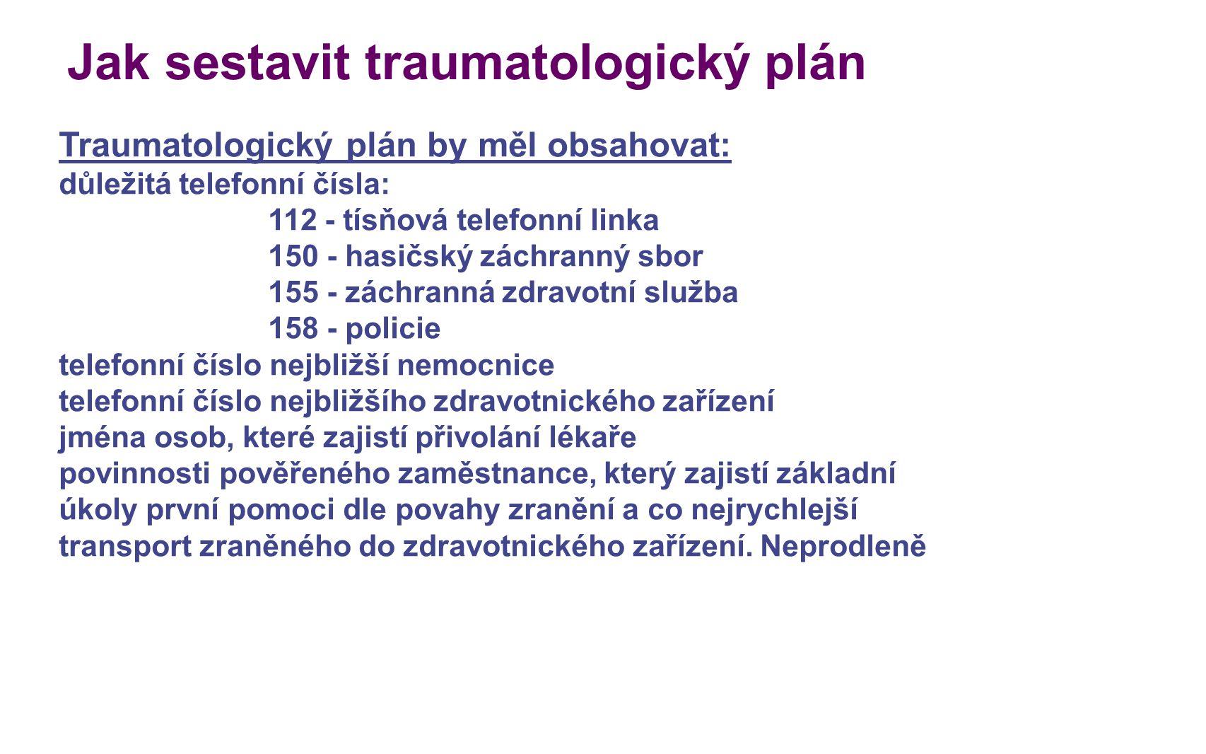 Jak sestavit traumatologický plán