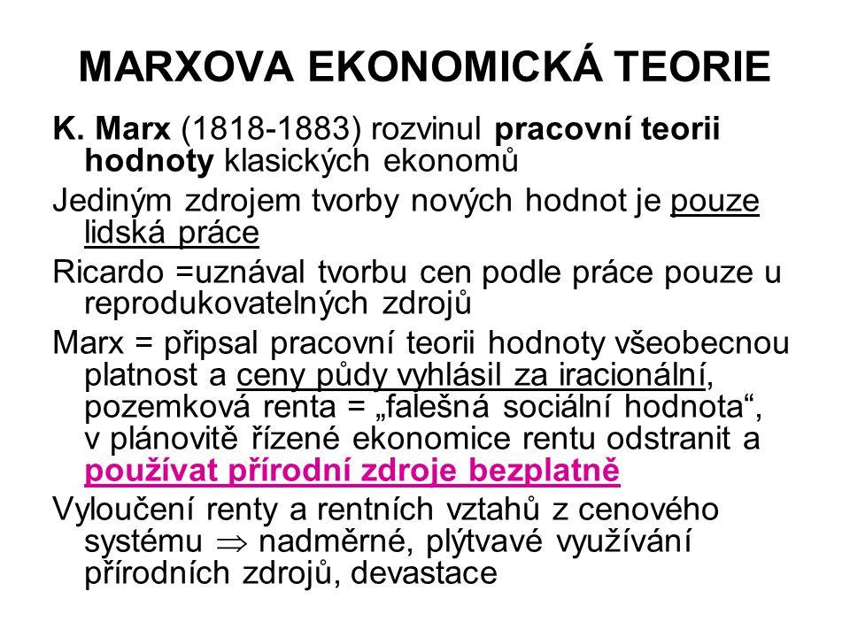 MARXOVA EKONOMICKÁ TEORIE