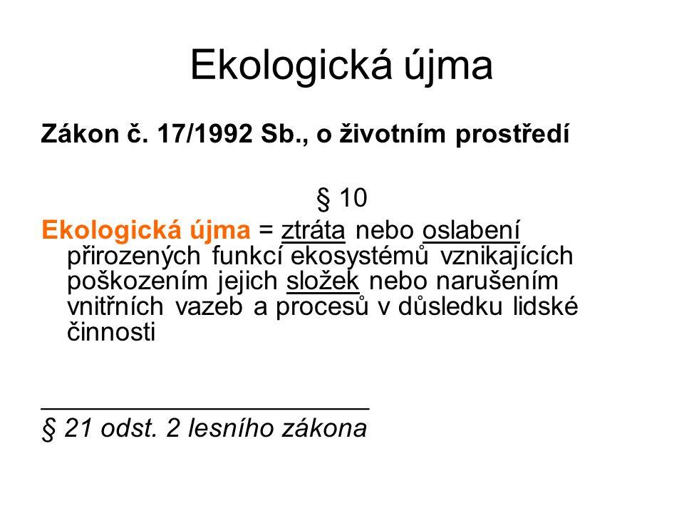 Ekologická újma Zákon č. 17/1992 Sb., o životním prostředí § 10