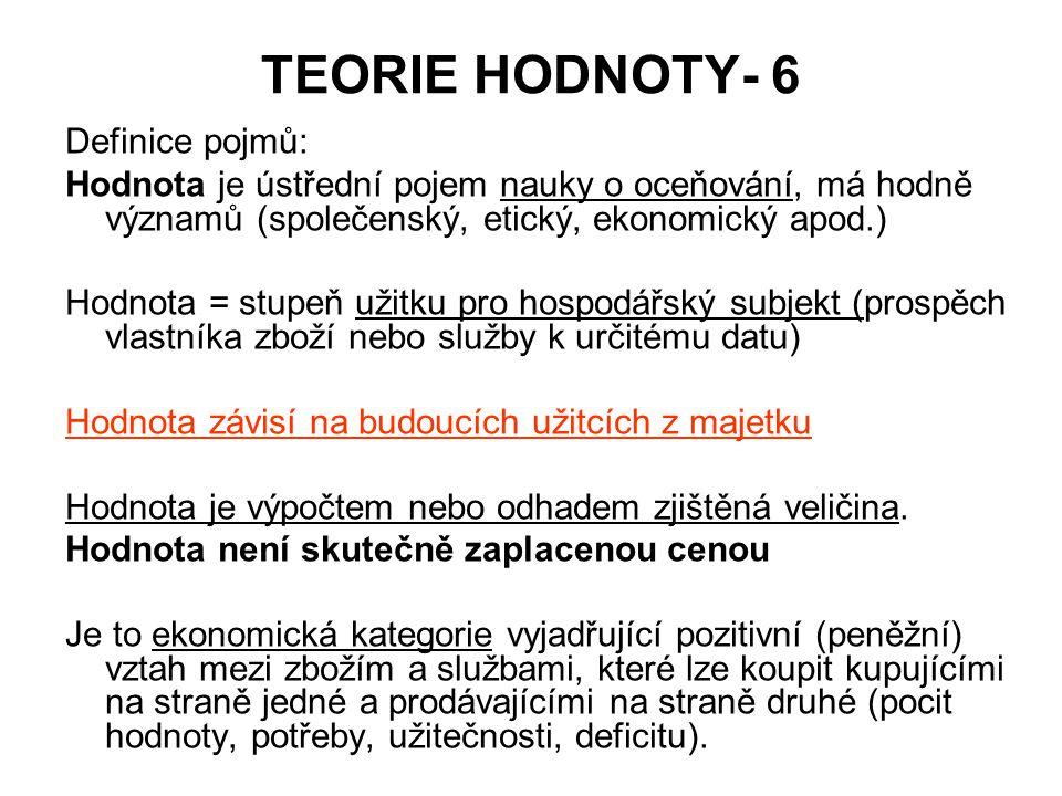 TEORIE HODNOTY- 6 Definice pojmů: