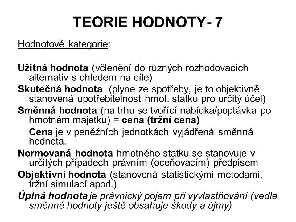 TEORIE HODNOTY- 7 Hodnotové kategorie: