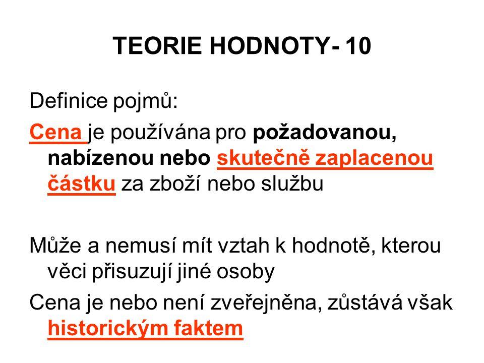 TEORIE HODNOTY- 10 Definice pojmů: