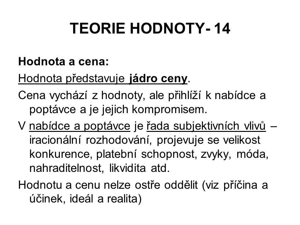 TEORIE HODNOTY- 14 Hodnota a cena: Hodnota představuje jádro ceny.