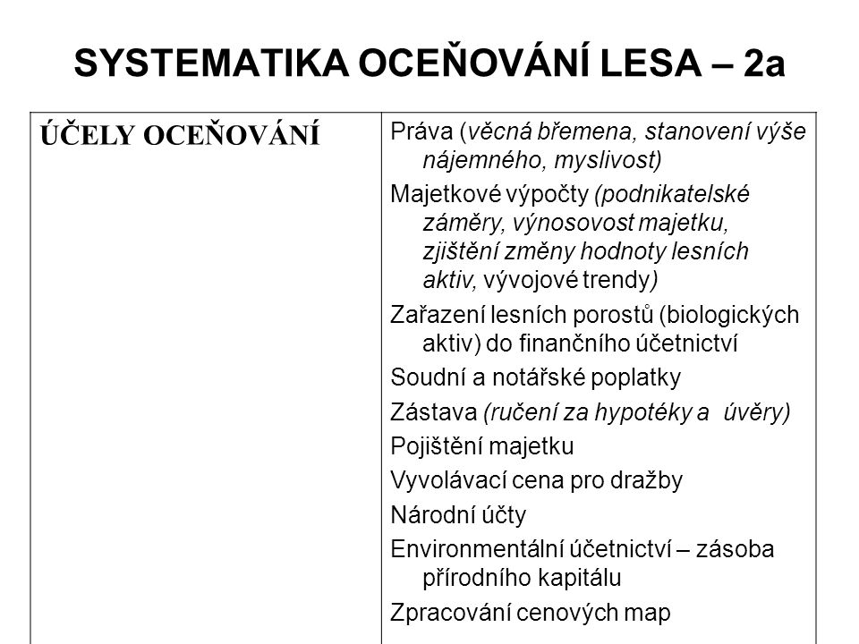 SYSTEMATIKA OCEŇOVÁNÍ LESA – 2a