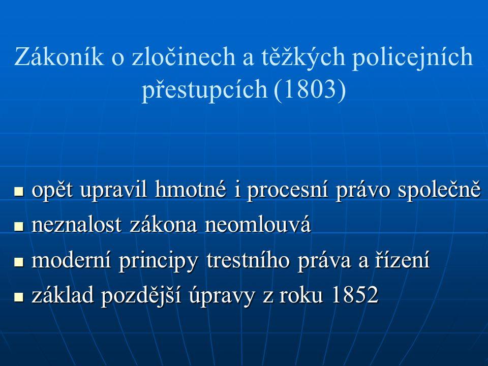 Zákoník o zločinech a těžkých policejních přestupcích (1803)