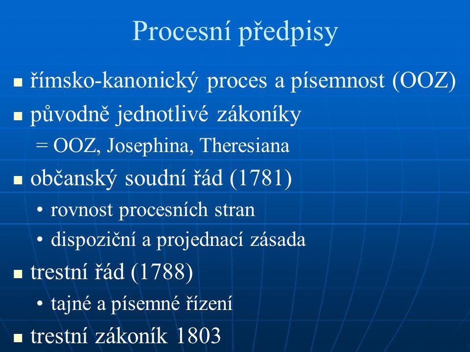 Procesní předpisy římsko-kanonický proces a písemnost (OOZ)