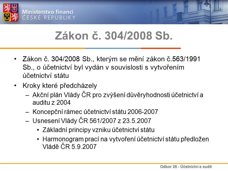 Zákon č. 304/2008 Sb. Zákon č. 304/2008 Sb., kterým se mění zákon č.563/1991 Sb., o účetnictví byl vydán v souvislosti s vytvořením účetnictví státu.