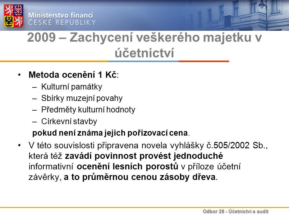 2009 – Zachycení veškerého majetku v účetnictví