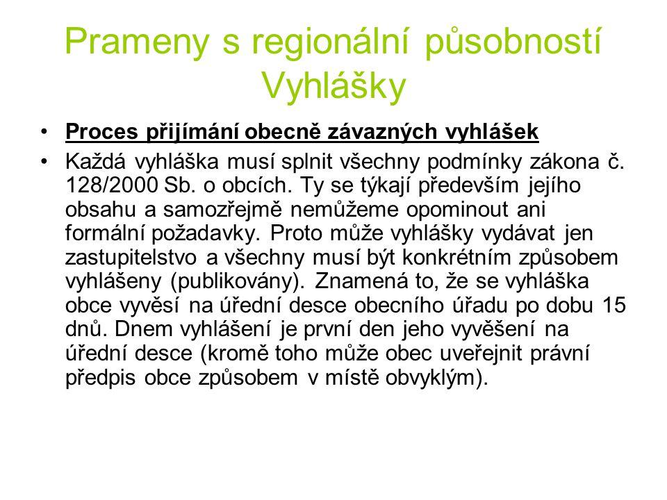 Prameny s regionální působností Vyhlášky