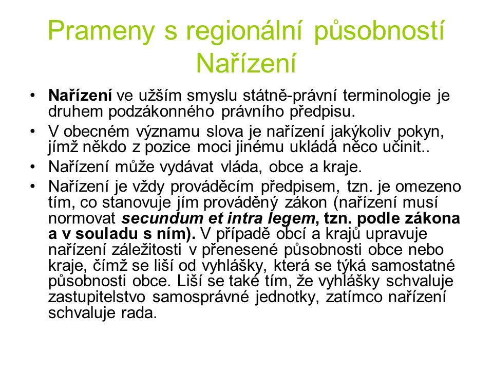 Prameny s regionální působností Nařízení