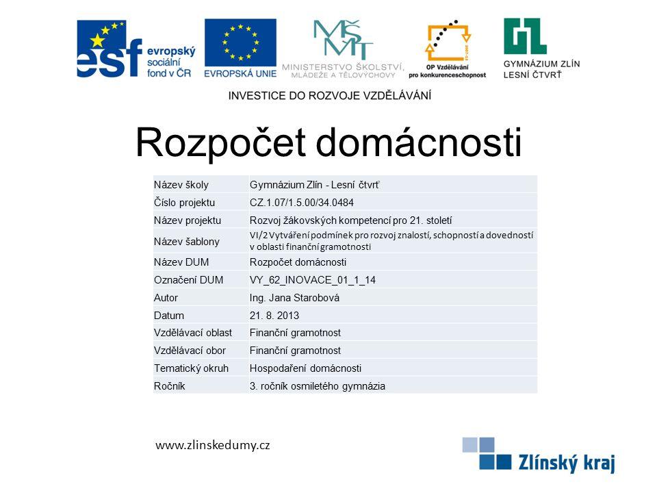 Rozpočet domácnosti www.zlinskedumy.cz Název školy