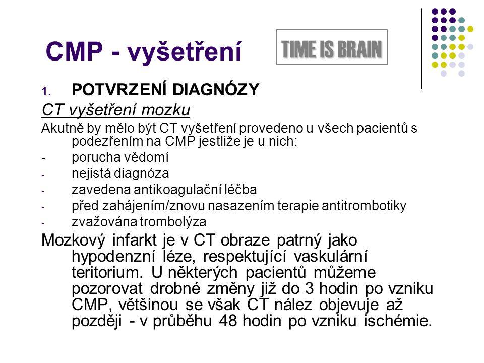 CMP - vyšetření TIME IS BRAIN POTVRZENÍ DIAGNÓZY CT vyšetření mozku