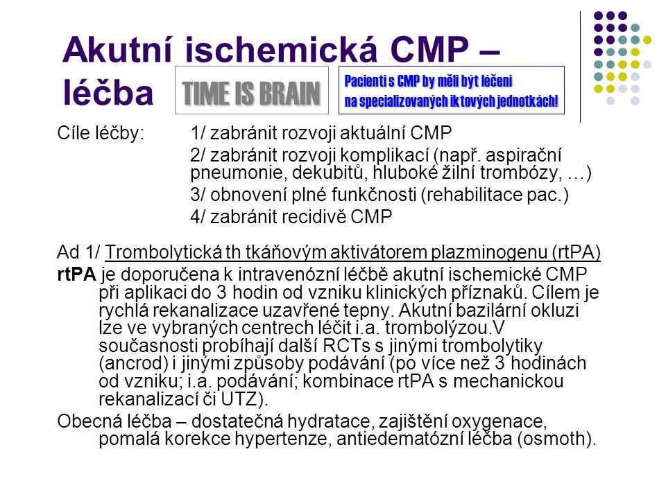 Akutní ischemická CMP – léčba