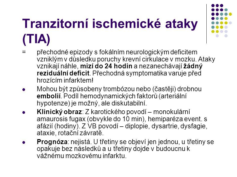 Tranzitorní ischemické ataky (TIA)