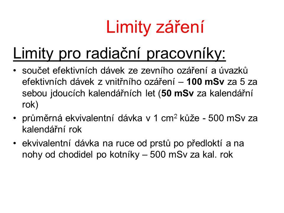 Limity záření Limity pro radiační pracovníky: