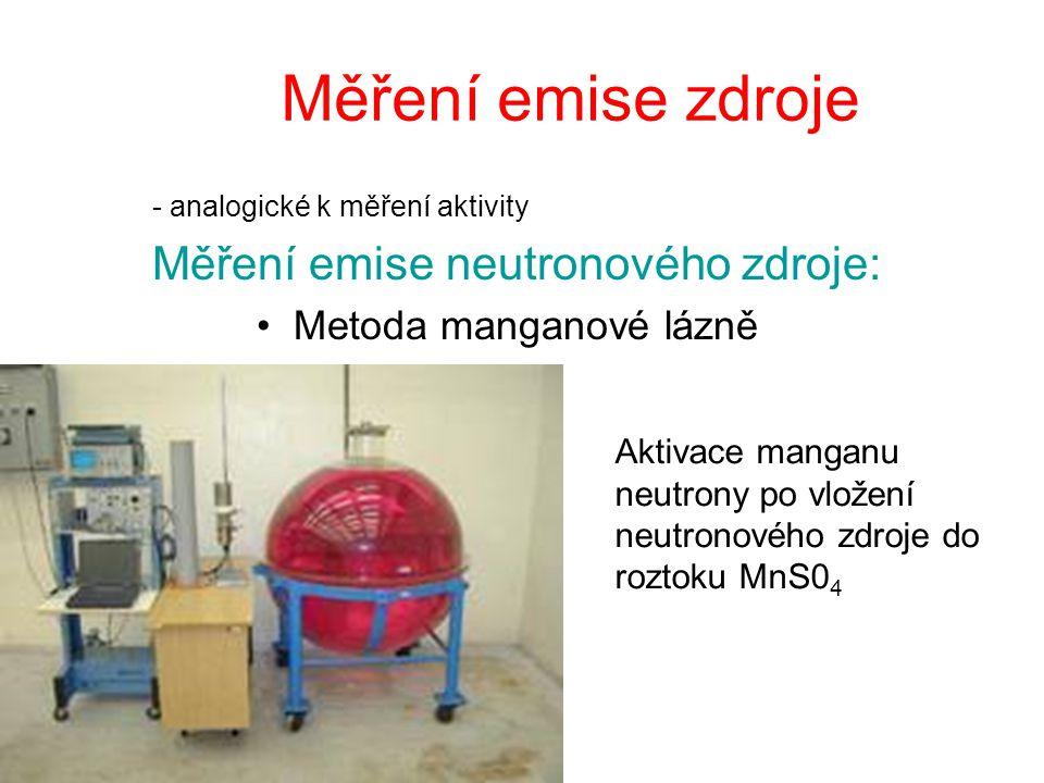 Měření emise zdroje Měření emise neutronového zdroje: