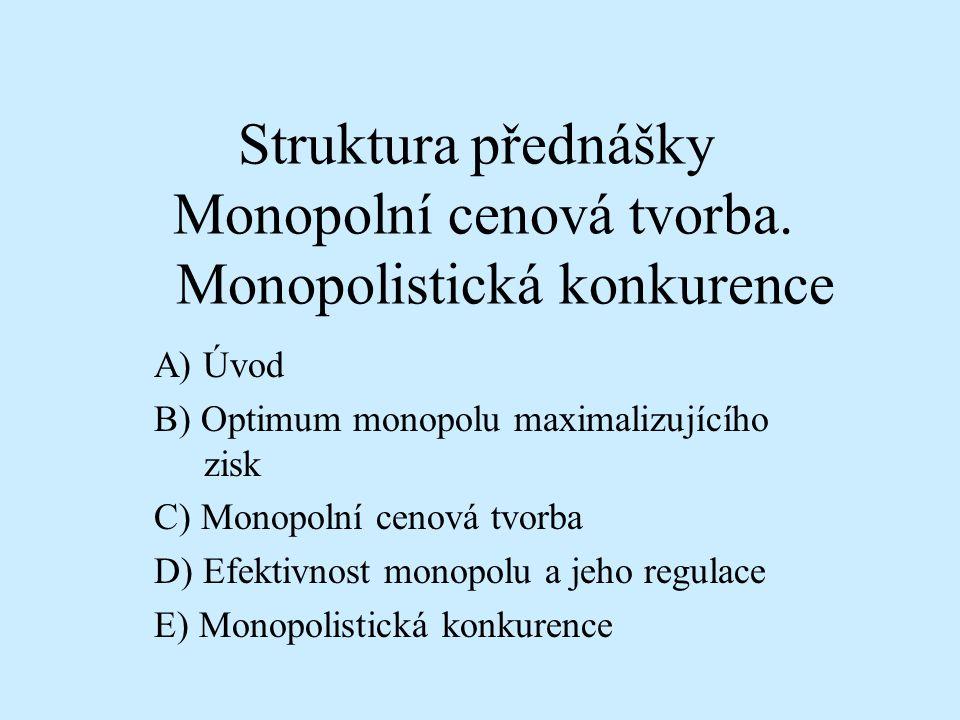 Struktura přednášky Monopolní cenová tvorba. Monopolistická konkurence
