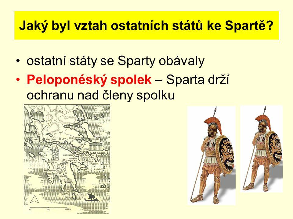 Jaký byl vztah ostatních států ke Spartě