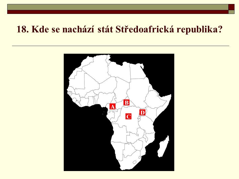 18. Kde se nachází stát Středoafrická republika