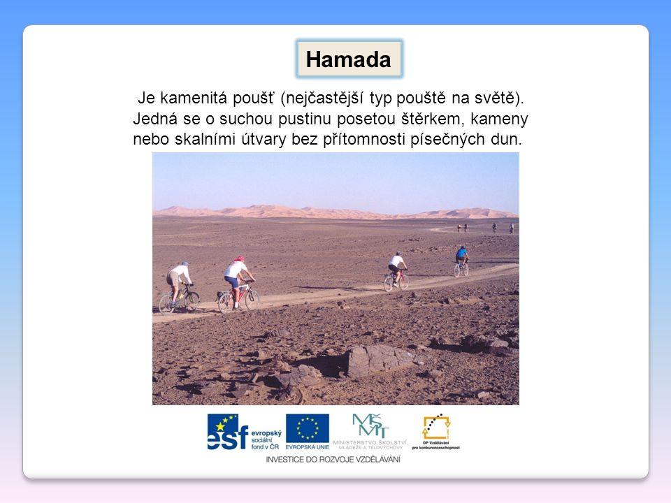 Hamada Je kamenitá poušť (nejčastější typ pouště na světě).