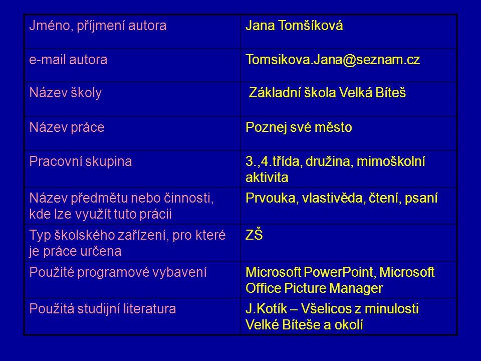 Jméno, příjmení autora Jana Tomšíková. e-mail autora. Tomsikova.Jana@seznam.cz. Název školy. Základní škola Velká Bíteš.