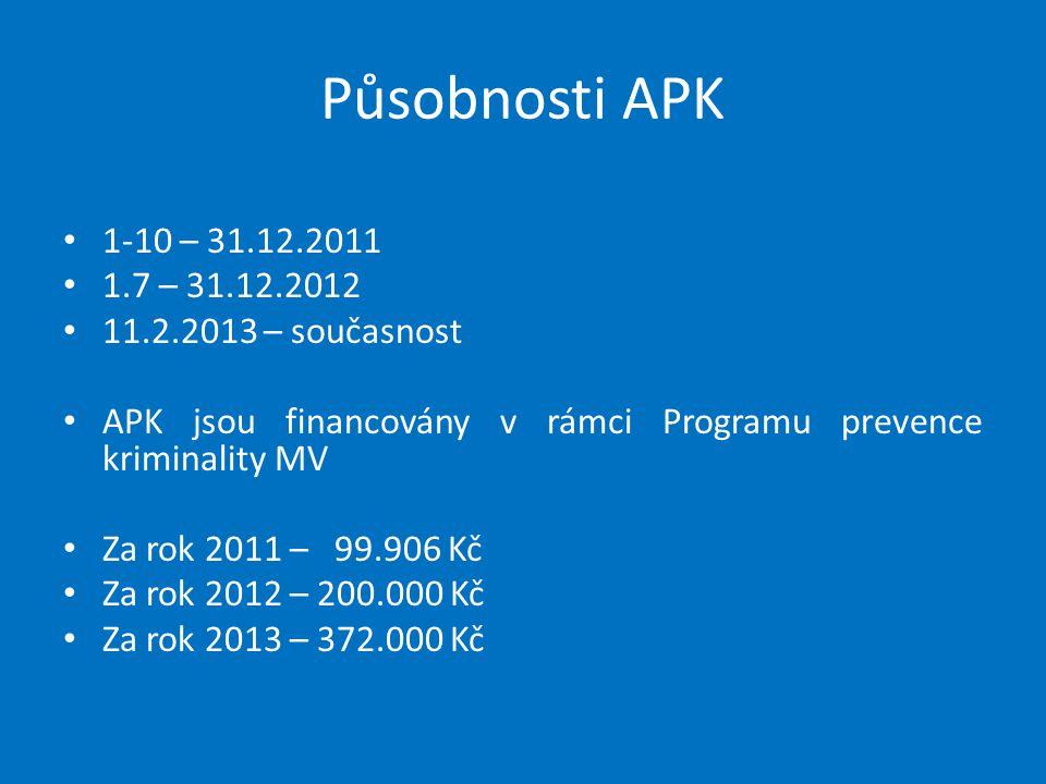 Působnosti APK 1-10 – 31.12.2011. 1.7 – 31.12.2012. 11.2.2013 – současnost. APK jsou financovány v rámci Programu prevence kriminality MV.