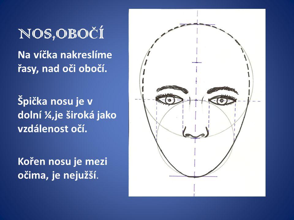NOS,OBOČÍ Na víčka nakreslíme řasy, nad oči obočí.
