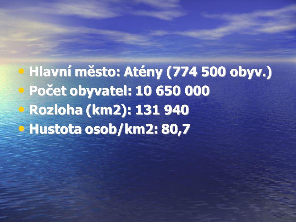 Hlavní město: Atény (774 500 obyv.)