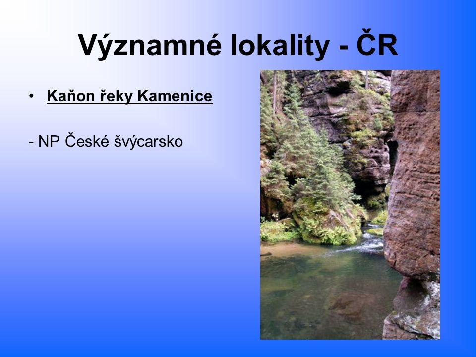 Významné lokality - ČR Kaňon řeky Kamenice - NP České švýcarsko