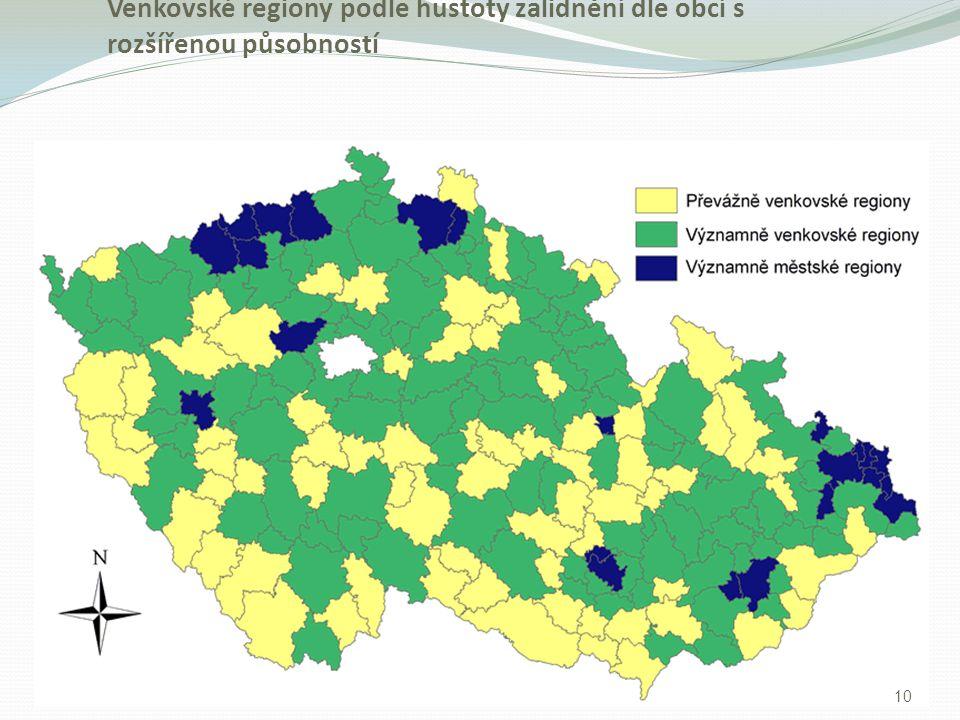 Venkovské regiony podle hustoty zalidnění dle obcí s rozšířenou působností