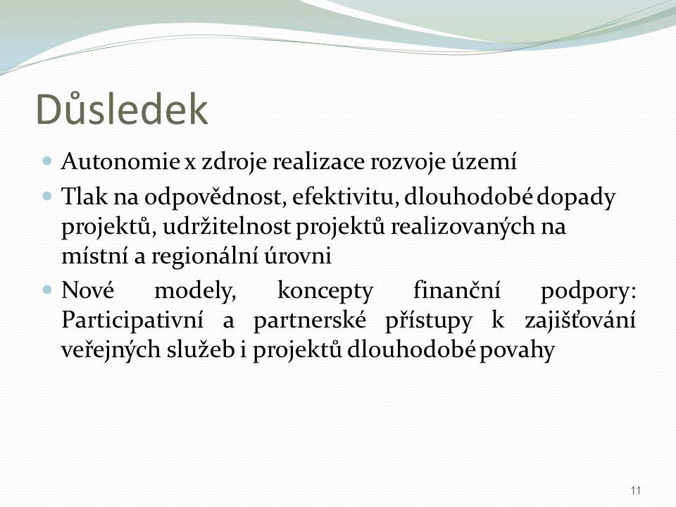 Důsledek Autonomie x zdroje realizace rozvoje území