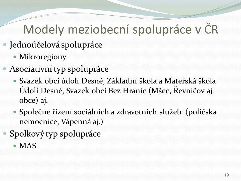 Modely meziobecní spolupráce v ČR