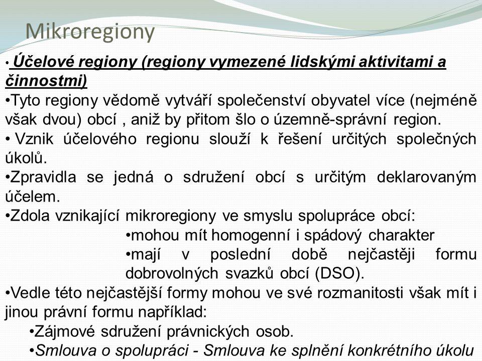 Mikroregiony Účelové regiony (regiony vymezené lidskými aktivitami a činnostmi)