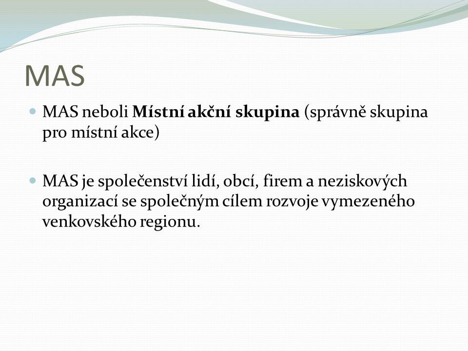 MAS MAS neboli Místní akční skupina (správně skupina pro místní akce)