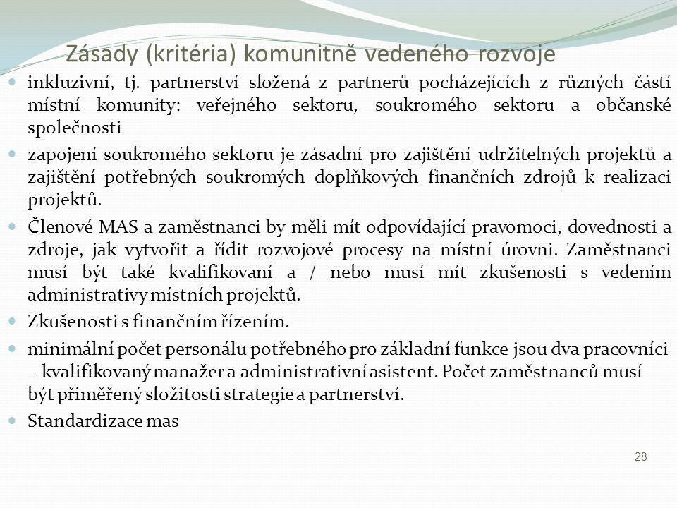 Zásady (kritéria) komunitně vedeného rozvoje