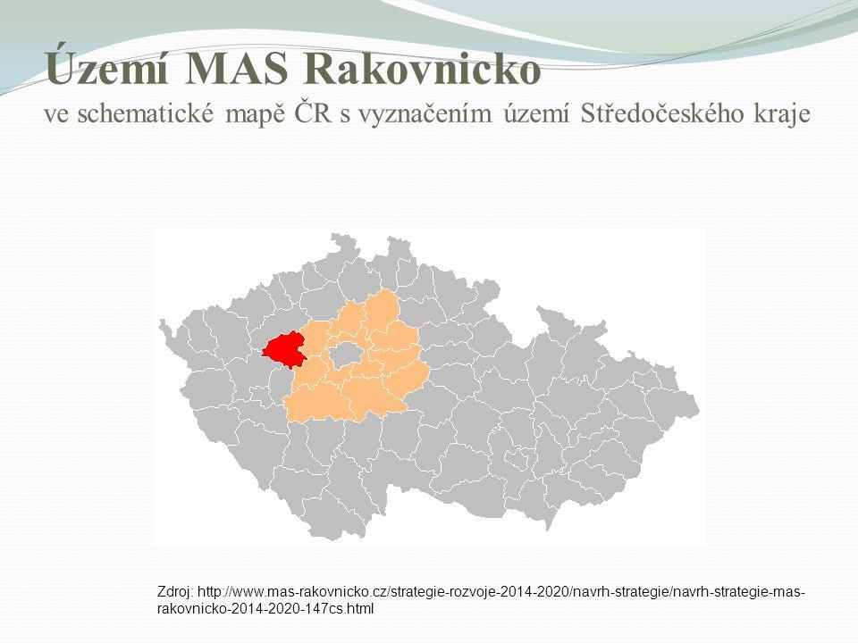 Území MAS Rakovnicko ve schematické mapě ČR s vyznačením území Středočeského kraje