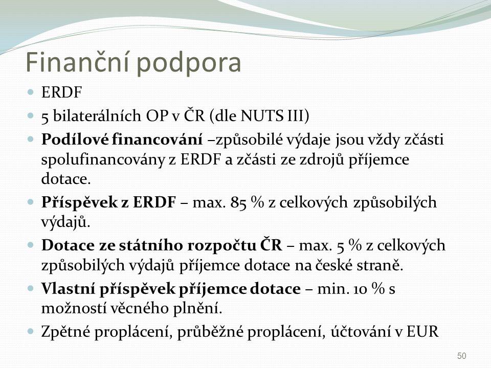 Finanční podpora ERDF 5 bilaterálních OP v ČR (dle NUTS III)